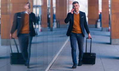 businessman travelling at airport