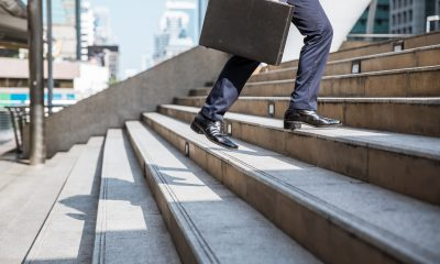 businessman walking stairs