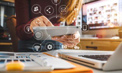 digital distraction businesswoman