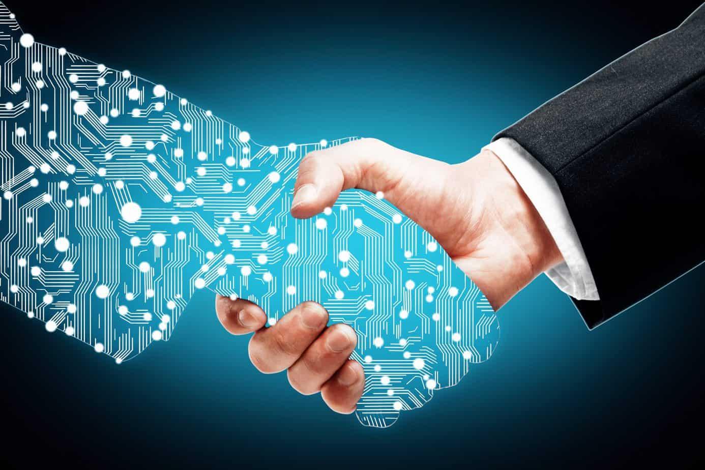digital transformation handshake man machine