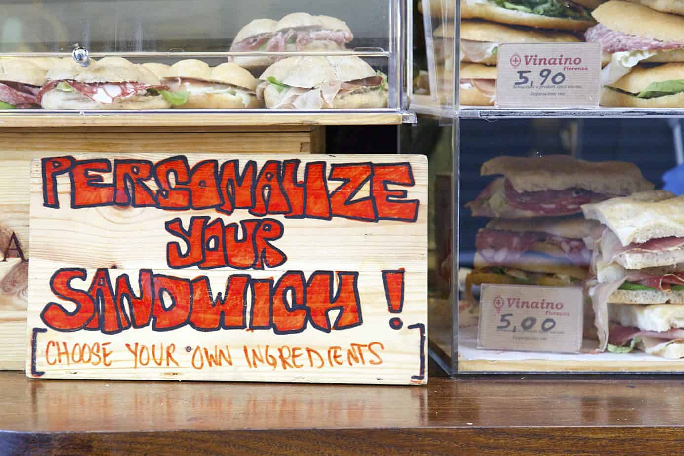 personalize your sandwich